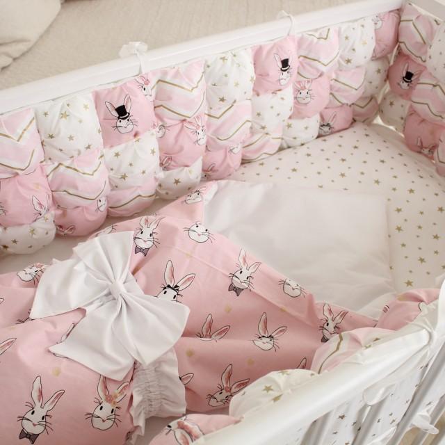 Бортики Комплект Пуфборт - В стране чудес Зайки розовые