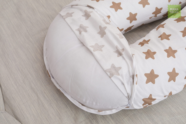 Подушка для беременных U 340 на все тело + наволочка бязь Прянички кофе