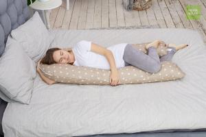 Подушка для беременных U 340 на все тело + наволочка бязь Звездочки кофе