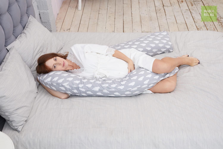 Подушка Mama Relax для беременных U 340 + наволочка бязь Облака на сером