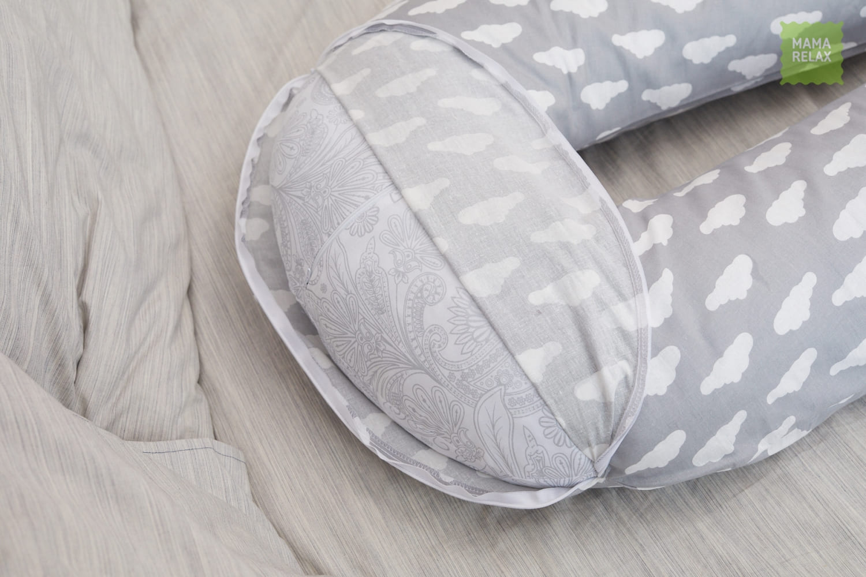 Подушка для беременных U 340 на все тело + наволочка бязь Облака на сером