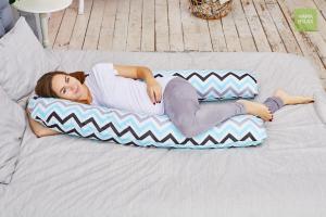 Подушка для беременных U 340 на все тело + наволочка поплин Зигзаги нежные