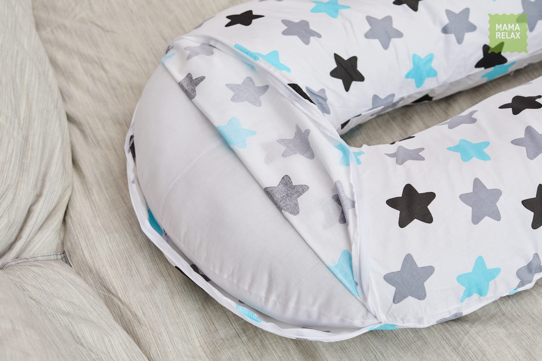 Подушка Mama Relax для беременных U 340 + наволочка поплин Прянички нежные