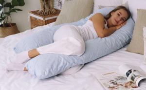 Подушка для беременных U 340 на все тело + Наволочка поплин lux Серебряная звездочка на голубом