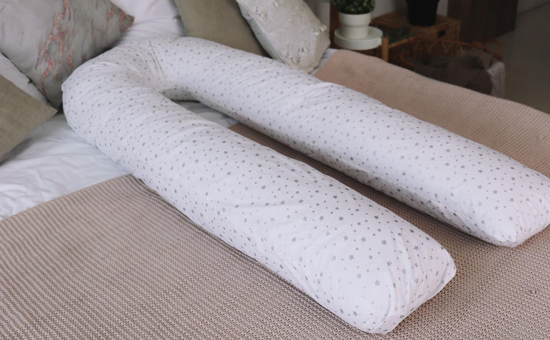 Подушка Mama Relax для беременных U 340 + Наволочка поплин lux Серебряная звездочка на белом