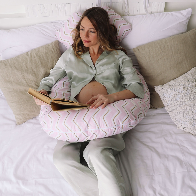 Подушка для беременных U 340 на все тело + Наволочка поплин lux Зигзаги золотые