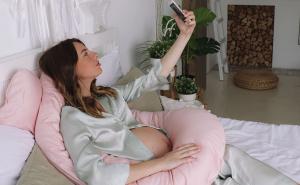 Подушка для беременных U 340 на все тело + Наволочка сатин Пудра
