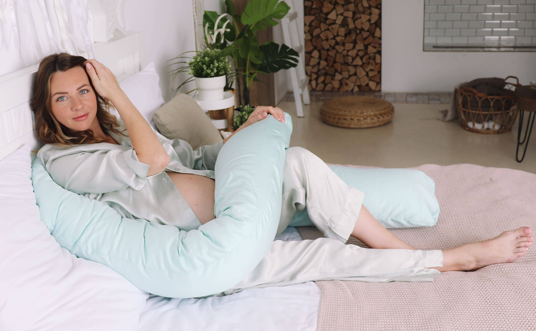 Подушка Mama Relax для беременных U 340 + Наволочка сатин Мята