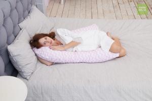 Подушка для беременных на все тело U 280 + Наволочка бязь Зигзаги розовые