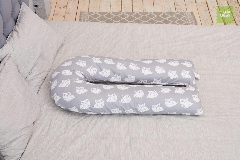 Подушка для беременных на все тело U 280 +Наволочка бязь Совята на сером