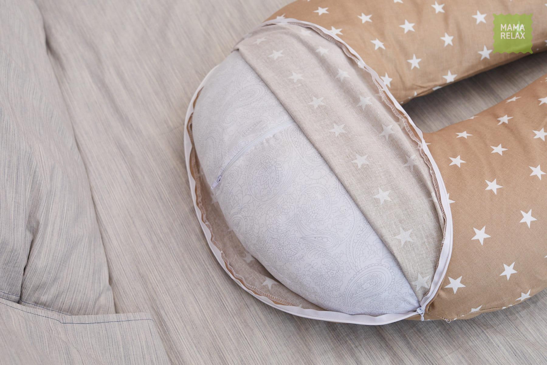 Подушка для беременных на все тело U 280 + Наволочка бязь Звездочки кофе