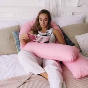 Подушка для беременных на все тело U 280 + Наволочка поплин lux  Белый горошек на розовом