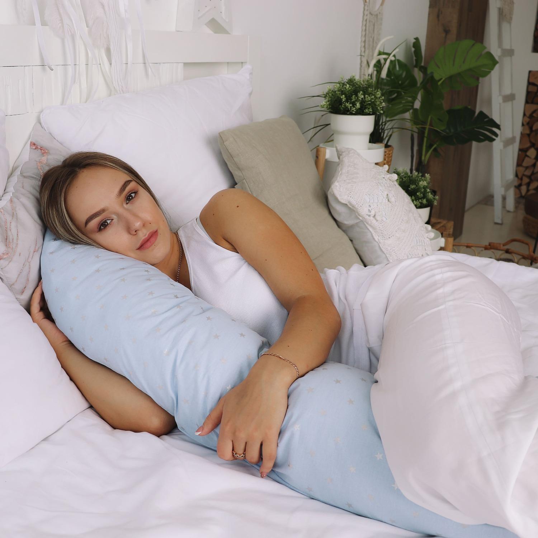 Подушка для беременных на все тело U 280 + Наволочка поплин lux  Серебренная звездочка на голубом