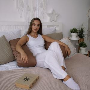 Подушка для беременных на все тело U 280 + Наволочка сатин Молочный шоколад