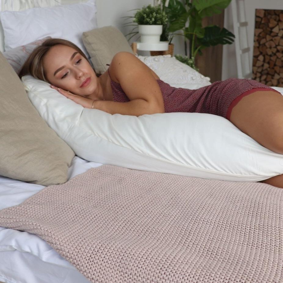 Подушка для беременных на все тело U 280 + Наволочка сатин Молочный