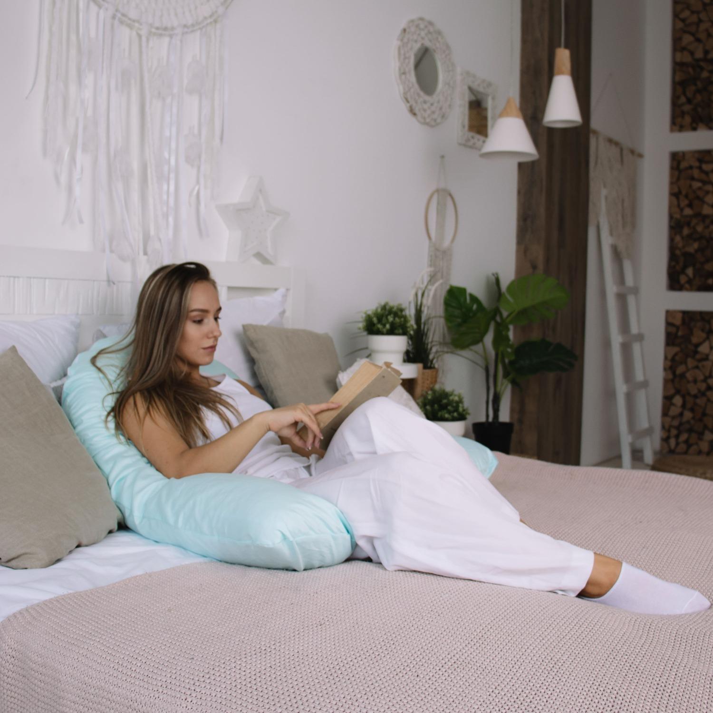 Подушка для беременных на все тело U 280 + Наволочка сатин Мята