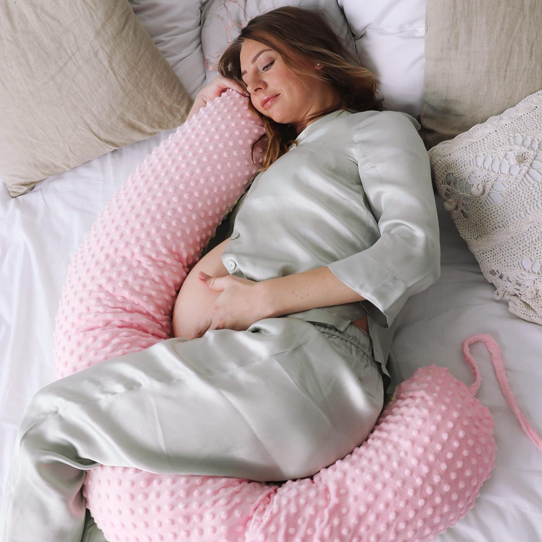 Подушка для беременных на все тело  I170+ Наволочка для I170 плюш молочный +роза