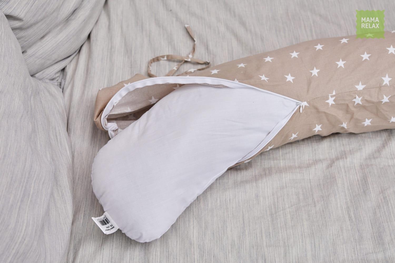 Подушка Mama Relax для кормления бумеранг I 170 см + Наволочка Звездочки кофе