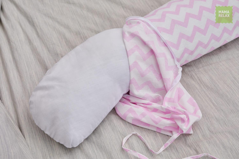 Подушка для беременных на все тело  I170+ Наволочка для I170  Зигзаги розовые