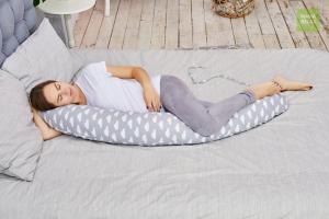 Подушка Mama Relax для кормления бумеранг I 170 см + Наволочка Облака серые