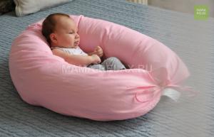 Подушка Mama Relax для кормления бумеранг I 170 см + Наволочка Розовая