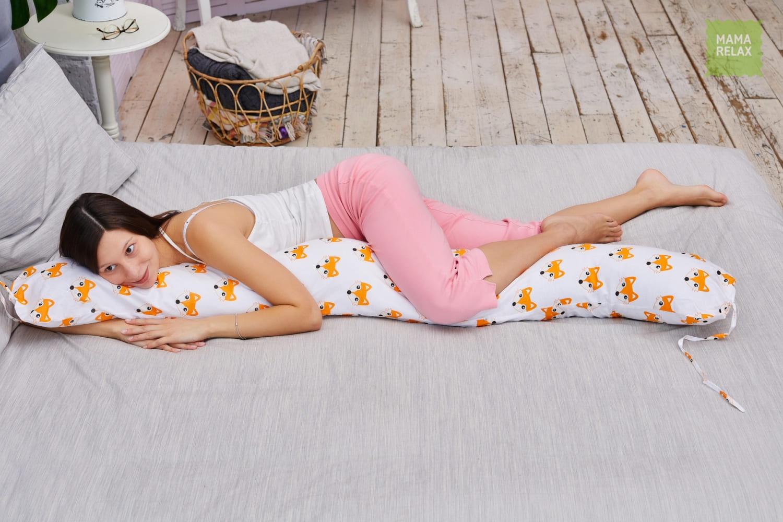 Подушка Mama Relax для кормления бумеранг I 170 см + Наволочка Лисички