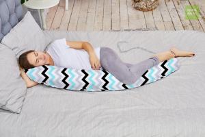 Подушка Mama Relax для кормления бумеранг I 170 см + Наволочка Зигзаги нежные