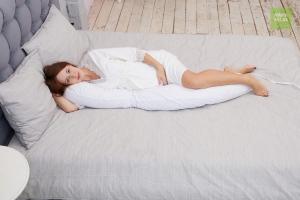 Подушка Mama Relax для кормления бумеранг I 170 см + Наволочка Поплин белый