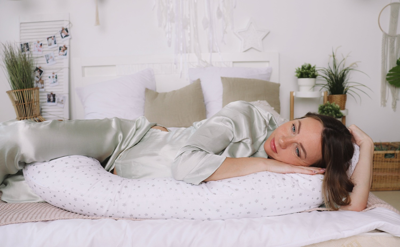 Подушка для беременных  I170+ Наволочка Серебренная звездочка на белом