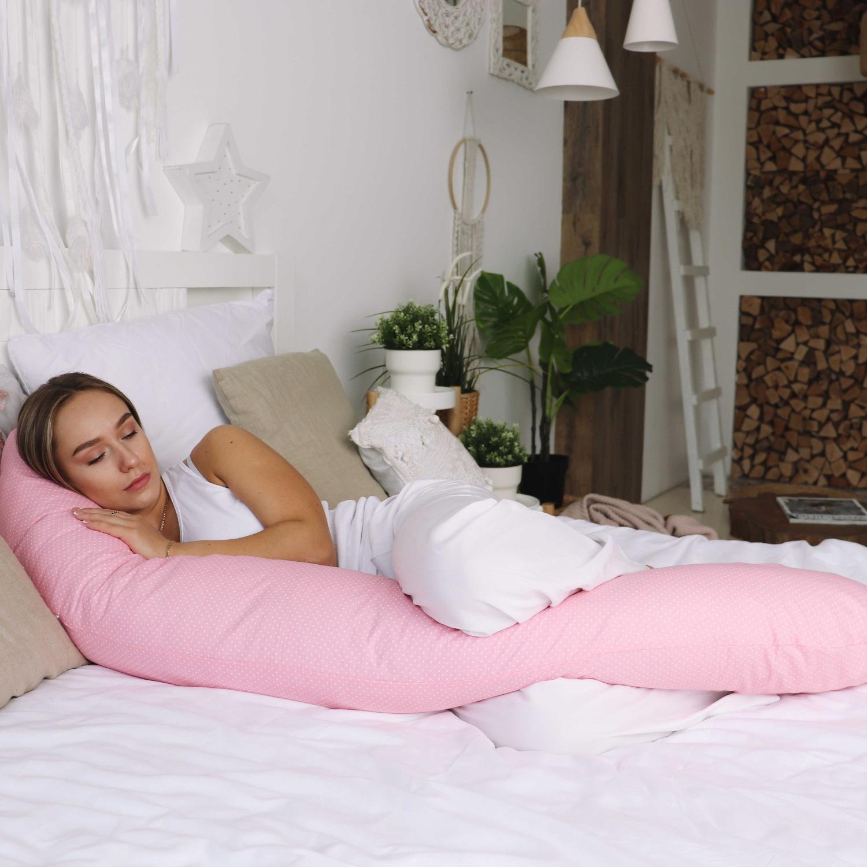 Подушка для беременных на все тело  I170+ Наволочка для I170  Белый горошек на розовом