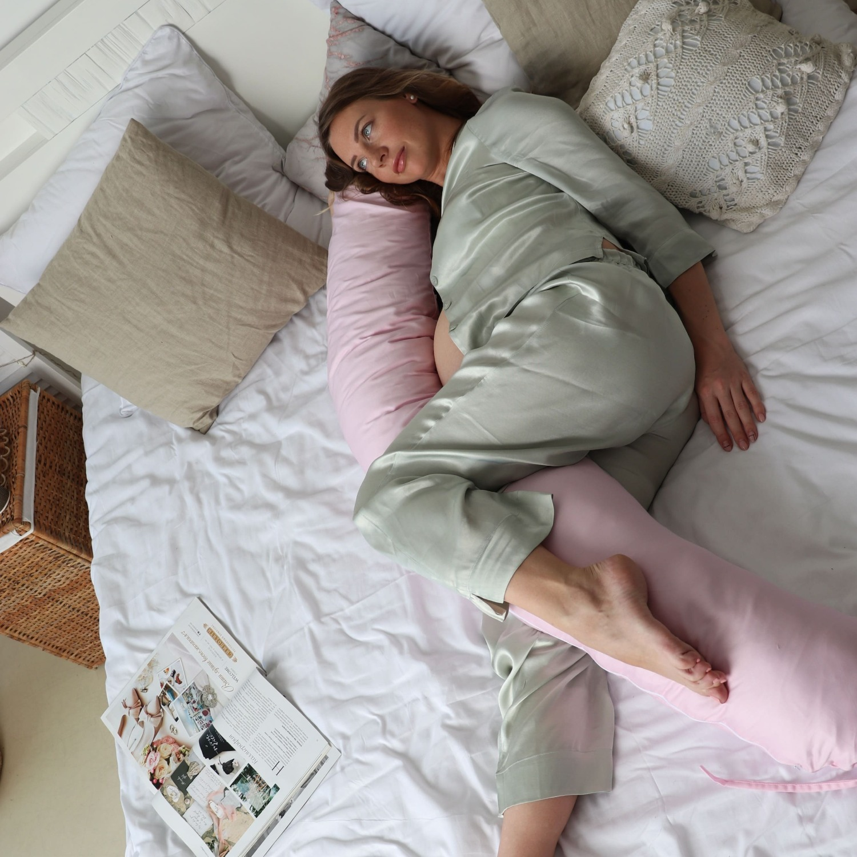 Подушка Mama Relax для кормления бумеранг I 170 см + Наволочка сатин Розовый