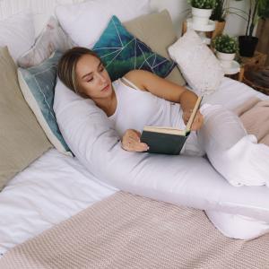 Подушка Mama Relax для кормления бумеранг I 170 см + Наволочка сатин Серый