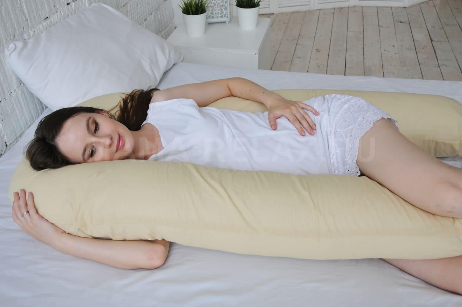 Подушка Mama Relax для беременных U 340 + наволочка бязь Кремовый беж