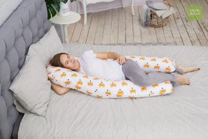 Подушка для беременных U 340 на все тело + наволочка поплин Лисички