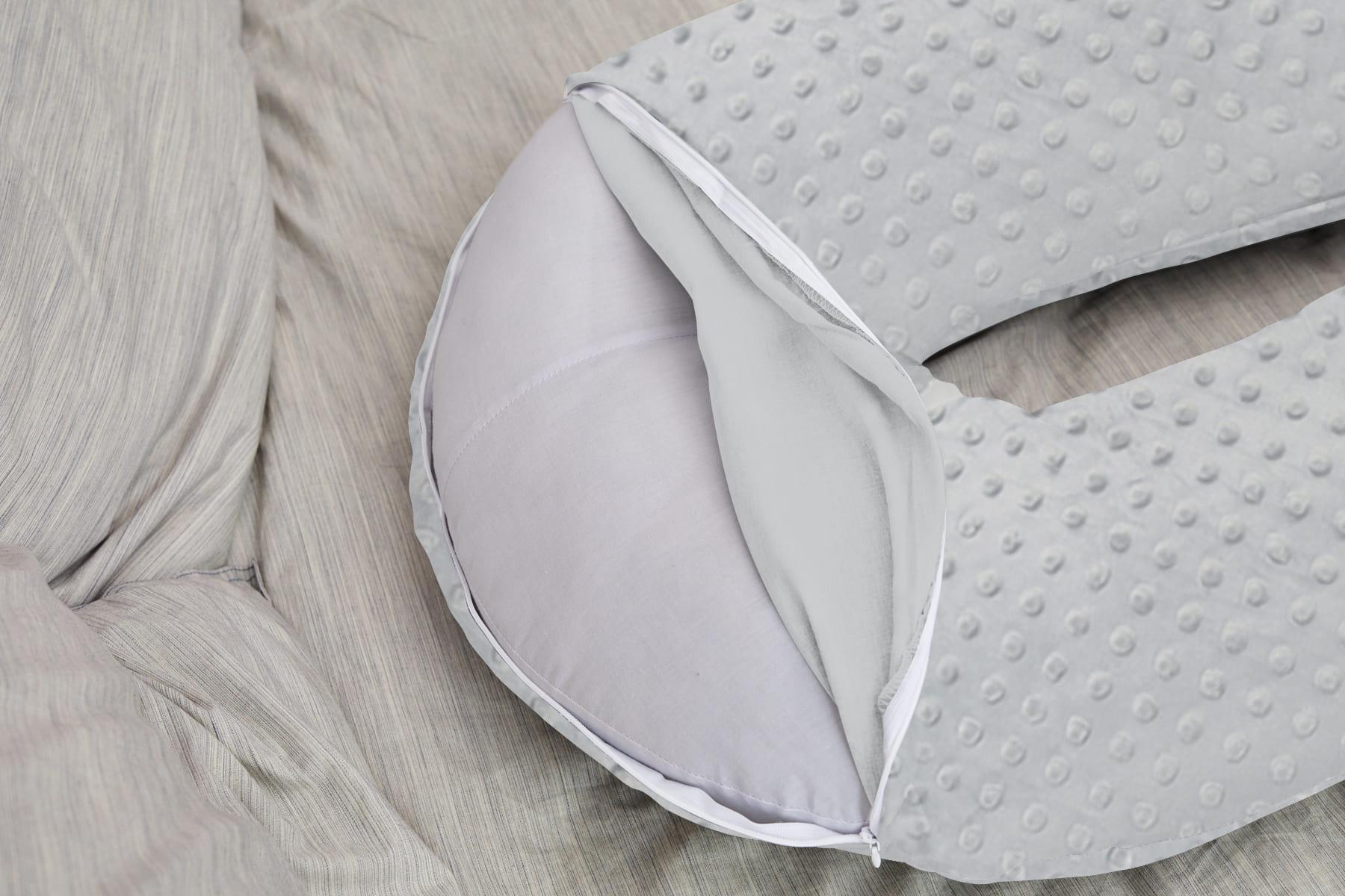 Подушка Mama Relax для беременных U 340 + Наволочка Минки плюш серый
