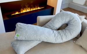 Подушка Mama Relax для беременных U 340 + наволочка поплин lux Серебренная звездочка на сером