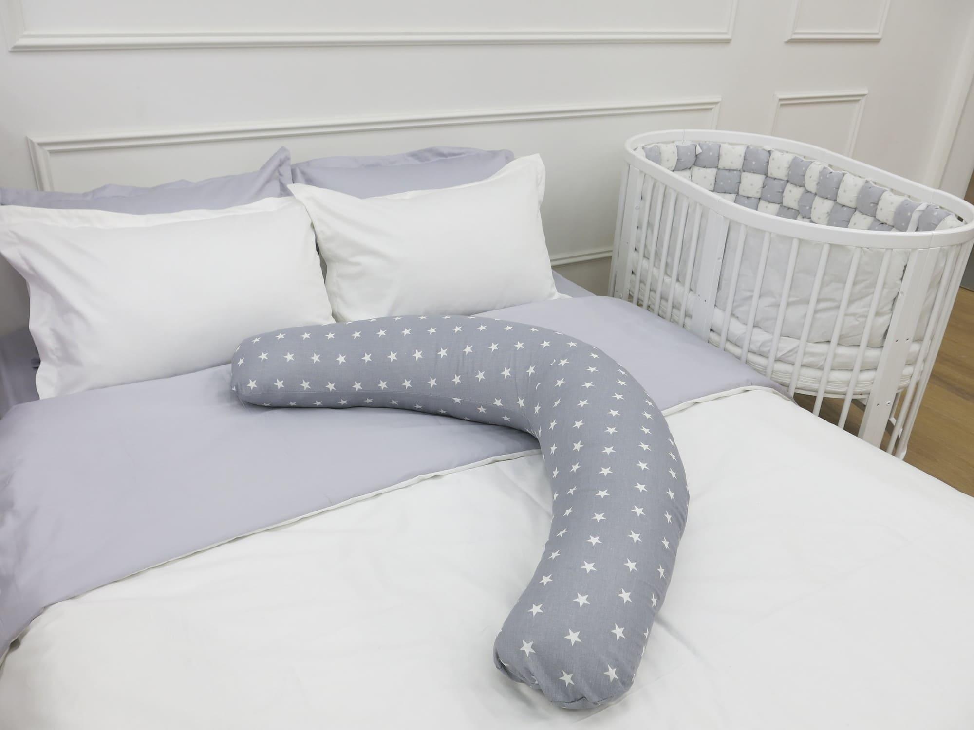 Подушка Mama Relax для беременных Бумеранг Звездочки серые