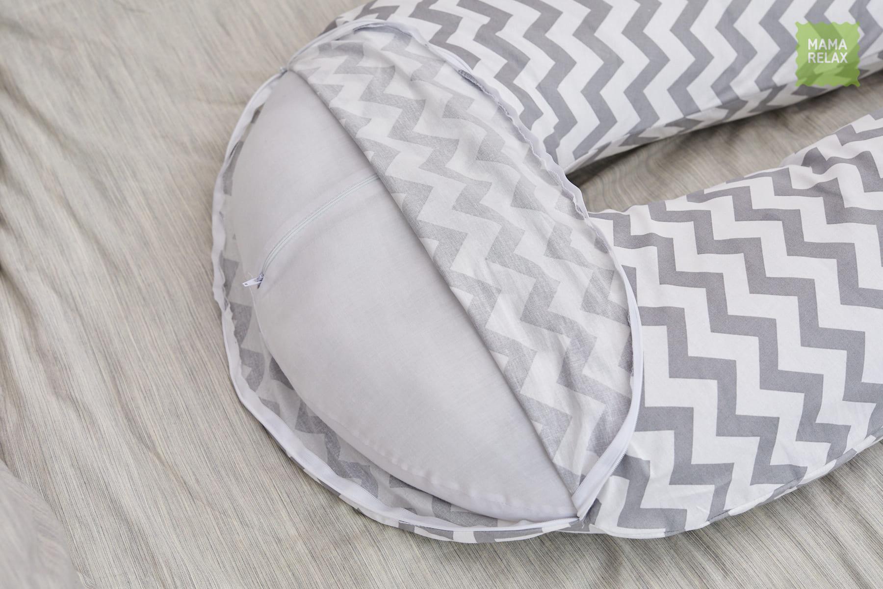Подушка Mama Relax для беременных U 340 Base + наволочка бязь ЗигЗаг серый