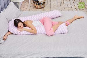 Подушка Mama Relax для беременных U 340 Base + наволочка бязь Зигзаги розовые