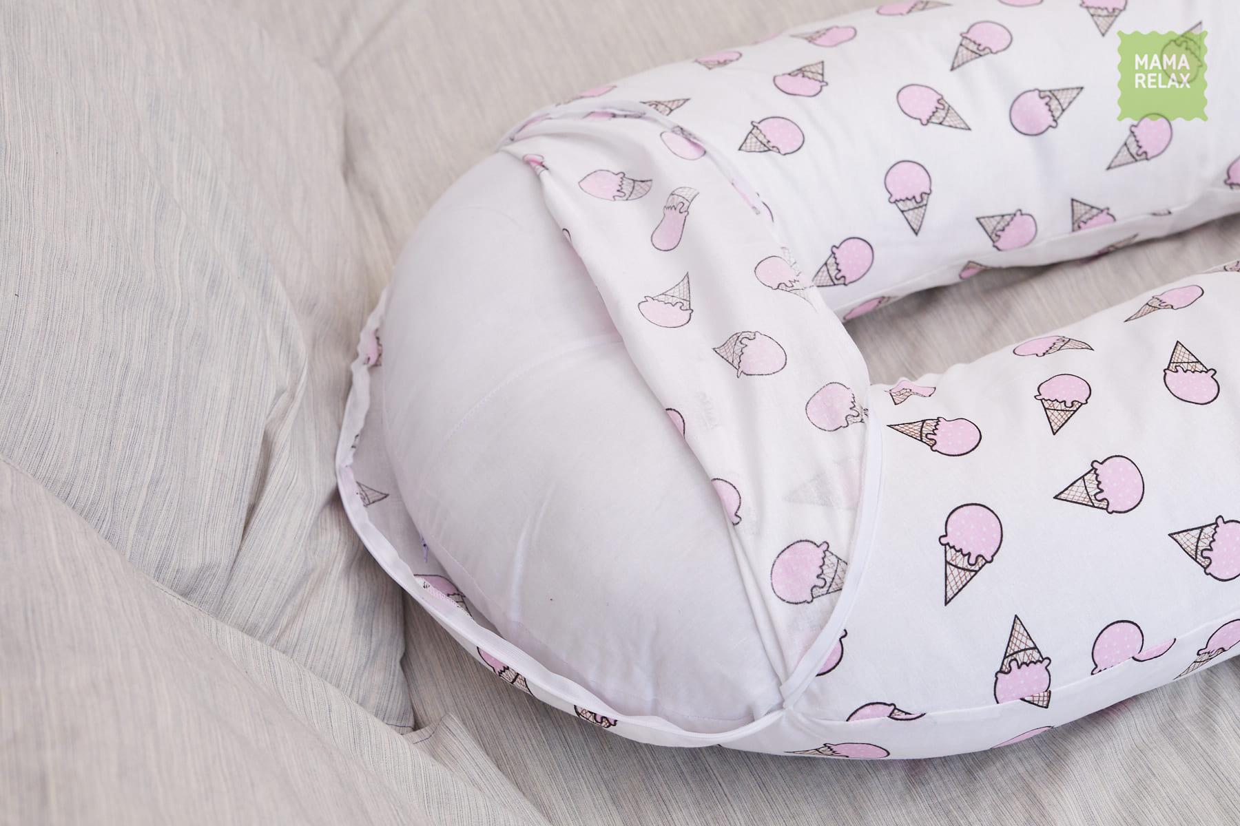 Подушка Mama Relax для беременных U 340 Base + наволочка бязь Мороженое розовое