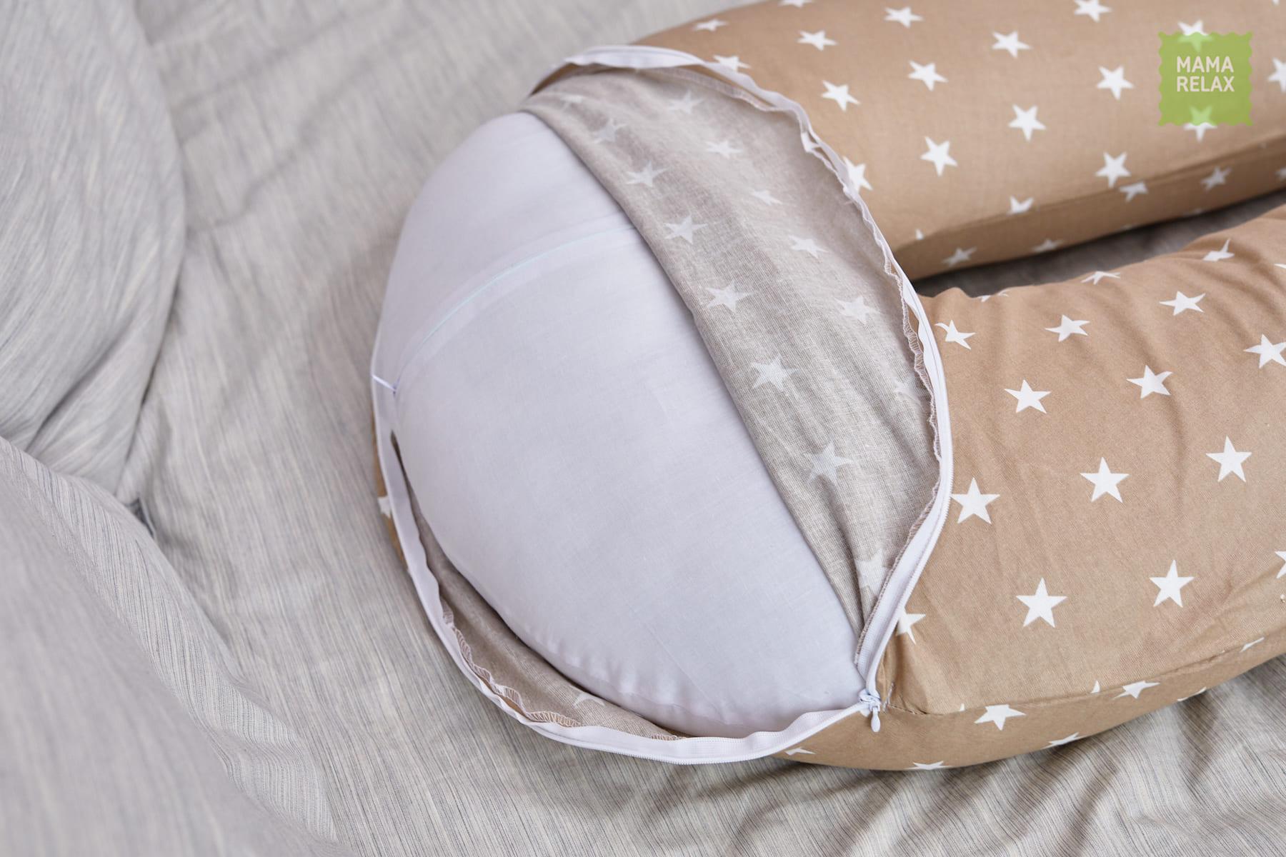Подушка Mama Relax для беременных U 340 Optima + наволочка бязь Звездочки кофе