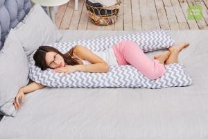 Подушка Mama Relax для беременных U 340 Optima + наволочка бязь ЗигЗаг серый