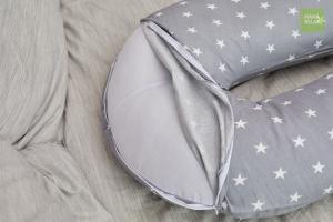 Подушка Mama Relax для беременных U 280 Base + Наволочка бязь Звездочки серые