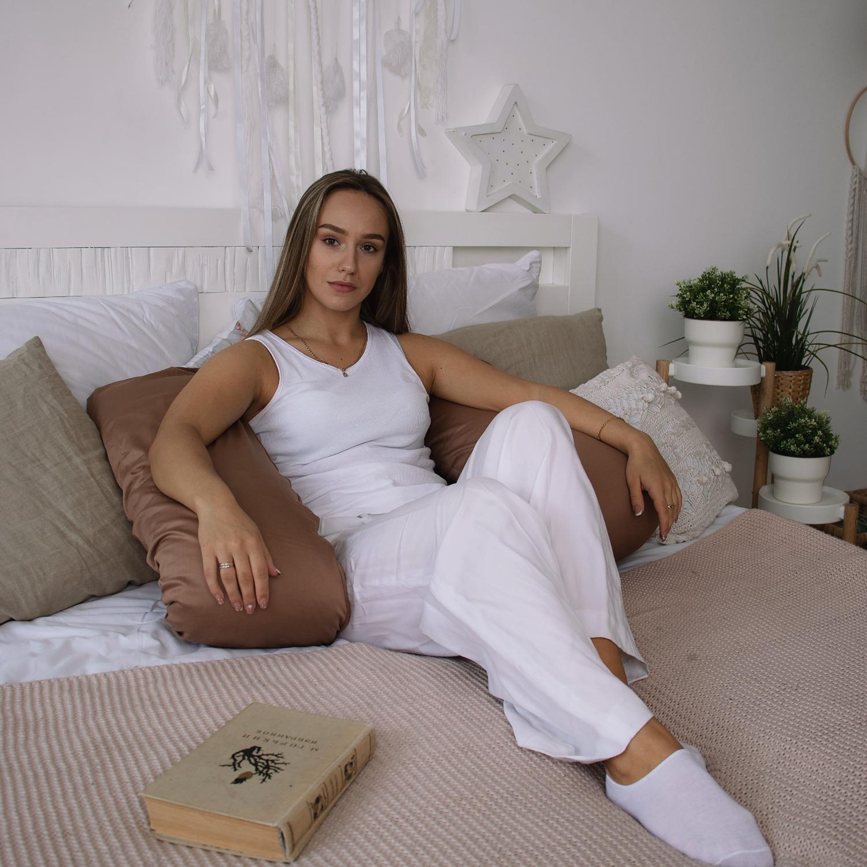 Подушка Mama Relax для беременных U 280 Base + Наволочка сатин Молочный шоколад