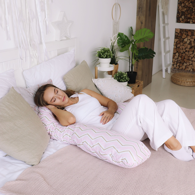 Подушка Mama Relax для беременных U 280 Optima + Наволочка поплин lux  Зигзаги золотые