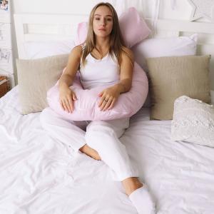 Подушка Mama Relax для беременных U 280 Optima + Наволочка сатин Розовый